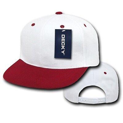 White & Maroon Plain Solid Flat Bill Snapback Vintage Retro Baseball Cap Hat