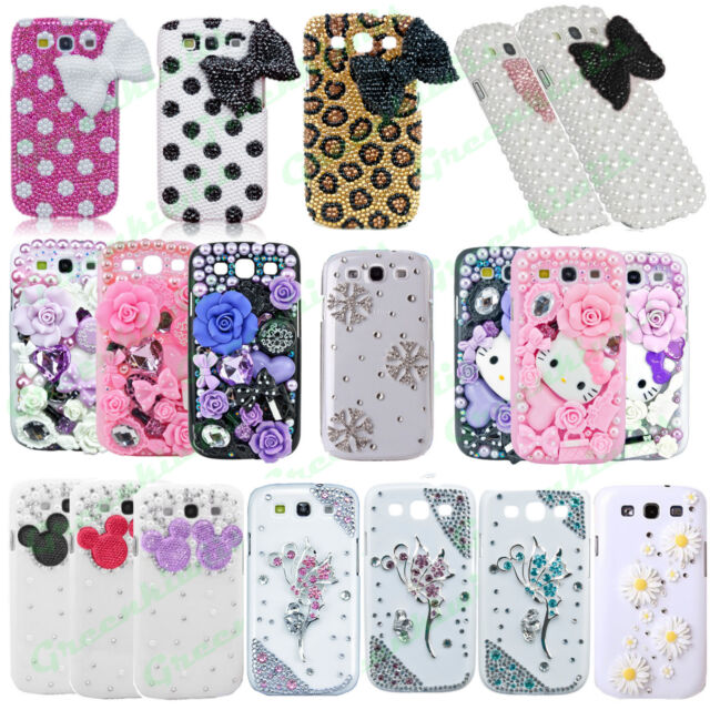 FOR GALAXY S5 S4 S3 LUXURY 3D CRYSTAL DIAMOND CASE BLING DIAMANTE HARD COVER