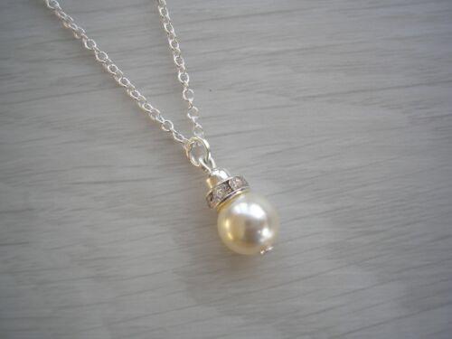 Simple Pearl /& Diamante Drop Necklaces for women girls bridesmaids wedding 63CSW