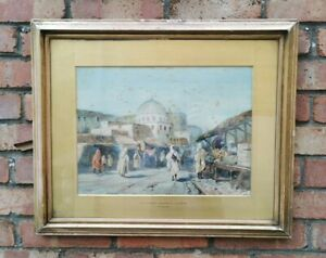 Original-Antique-Watercolour-Painting-Signed-Market-Bezerta-Algeria-Superb
