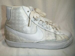 best loved 59f27 84e66 Details about Nike Blazer High White Checkerboard Satin Skater Women's High  Top 9.5