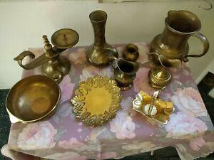 Metallobjekte Effizient Messing Bronze Krug Schale Vase Untersetzer Kanne Kerzenständer 9-teilig Set