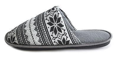 Para Hombre Chicos Caballeros Azul Gris Fairisle Azteca Copo De Nieve Acogedor Zapatillas Mulas Tallas 7-12