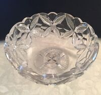 """American Brilliant Period Signed Hawkes Cut Glass Footed Bowl """"Warwick"""""""