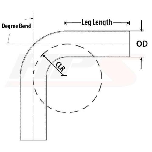 "HPS 3.25/"" OD 135 Deg Bend 6061 Aluminum Elbow Pipe Tubing 16 Gauge w// 3.5/"" CLR"