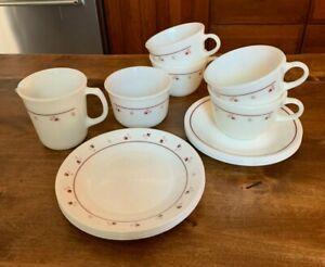 Set of 4 Pyrex Burgundy Cups, Sugar & Creamer w 4 Corelle Saucers & Side Plates