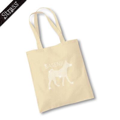 Jutebeutel Beutel Bag Einkaufstasche Shopper Strass Hund Basenji M1