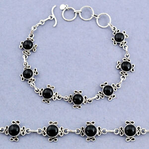 925 Sterling Silver 13.85cts Tennis Natural Black Onyx Bracelet Jewelry T8374