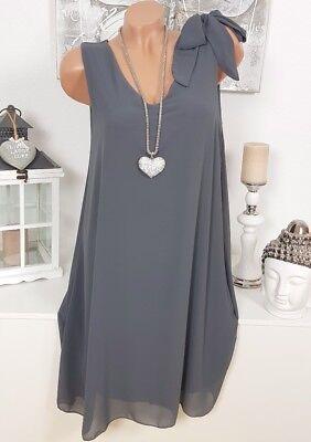 Italy Kleid Schleife Elegant Hängerchen Chiffon Oversize Rosa 40 42 44