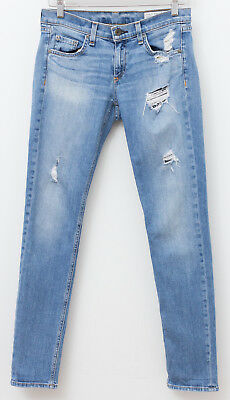 Women's Clothing Rag & Bone Dre Distressed Boyfriend Jeans Atwater Blue Size 25 Retail $250 Strong Packing