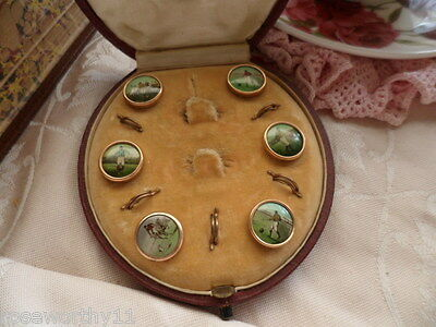 Vintage & Antique Jewelry Antique Jewellery Football Gold Buttons Old Case Box Vintage Mens Dress Jewelry Linens & Textiles (pre-1930)