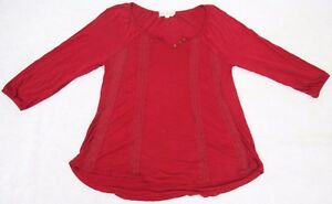 Size-Small-Pink-Rose-Red-Rayon-Tee-T-Shirt-Top-3-4-Sleeve-Cotton-Crochet-V-Neck