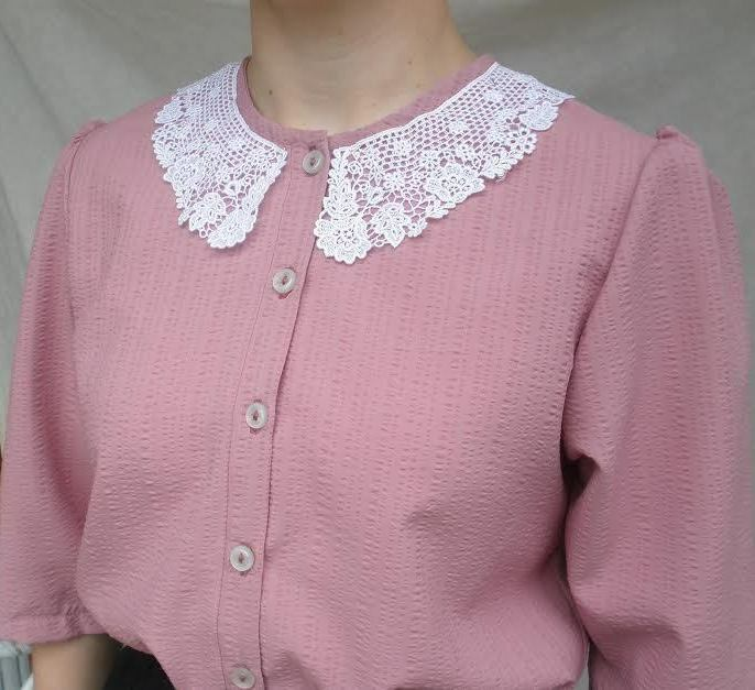 Ladies modest blouse Rosa Rosa polyester Größe XL or 18 with lace collar