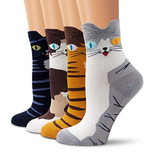 4PCS Womens Students Funny Socks Cartoon Fun Funky Cat Warm Ladies Ankle Sock UK
