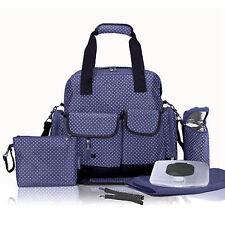 Allis Baby Changing Bag Multi Ways Nappy Diaper Bag 7PCS Backpack PVC FREE Navy