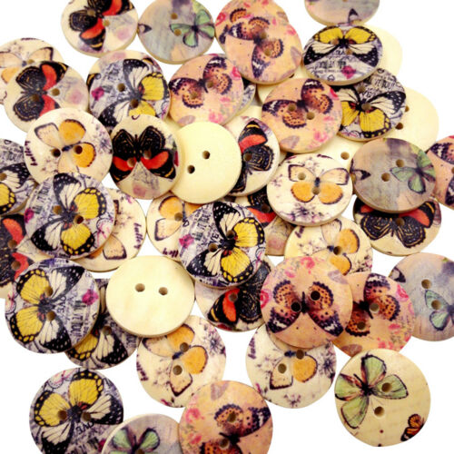 50x Butterfly Vintage Wooden Buttons 2 Holes Buttons for Sewing Decoration