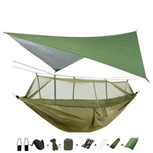 Portable Camping Hammock With Mosquito Net and Rain Fly Tarp Canopy For Hiking