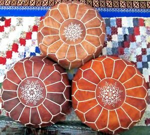 STUNNING-MOROCCAN-LEATHER-POUF-OTTOMAN-FOOTSTOOL-UNIQUE-LOVELY-DESIGN-AND-COLOR