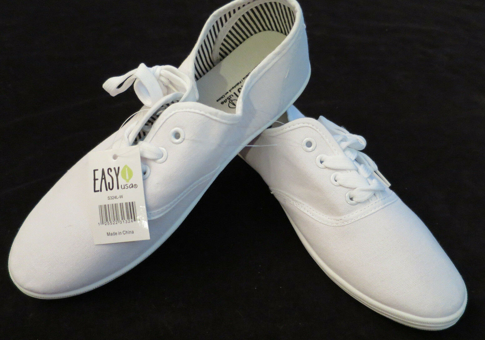 NEW Easy White Womens Canvas Casual Walking Sneakers Womens White Shoes 10 0b3238