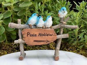 Miniatur Feengarten Zubehör Elfe Hohl Zeichen Mit Blau Vögel Neu