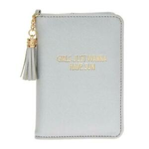 ea1f7e807922 Details about Girls Just Wanna Have Sun Passport Holder Silver Tassel  Travel Document ID Cover