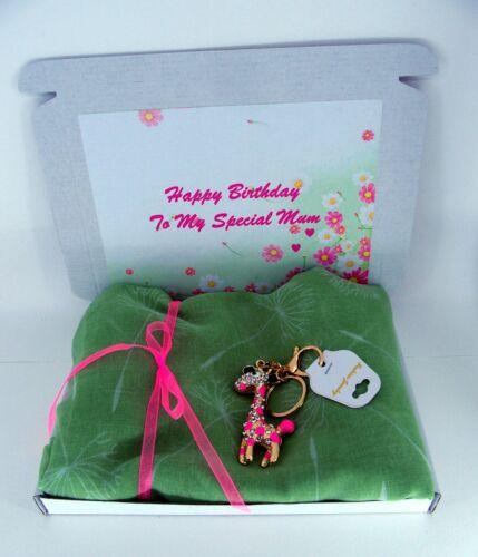 Personalised LADIES BIRTHDAY PAMPER HAMPER Scarf and Crystal KeyRing Mum Friend
