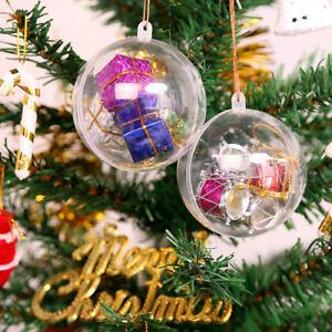 Plastic-Acrylic-Clear-20-Balls-Fillable-Sphere-Bauble-Craft-Christmas-tree-Decor