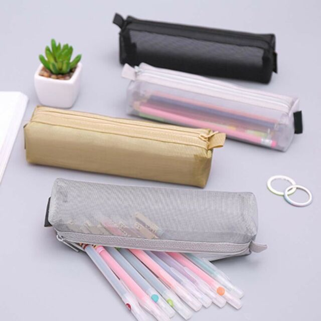 GI- Transparent Nylon Mesh Pencil Case Pen Storage Bag Student Zipper Pouch Eyef