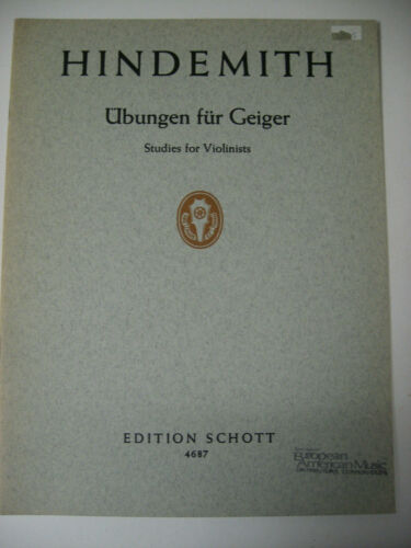 Paul Hindemith Studies for Violinists Edition Schott Sheet Music Book Violin