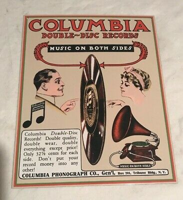 Metal Sign Vintage Look Repro 1969 Columbia Branded 8-Track Tape Player