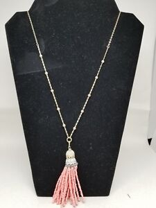 Outstanding-Lydell-NYC-Coral-Color-Glass-Beaded-Tassel-Necklace-Pendant
