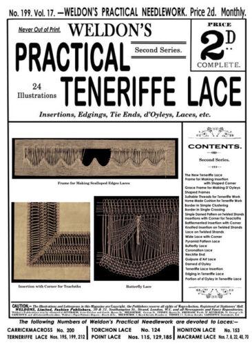 Weldon/'s 2D #199 c.1901 Vintage Instruction Teneriffe Lace Making 2nd Series