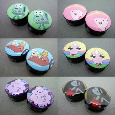 New Hot Adventure Time Cartoon TV Colorful Screw Acrylic  Flesh Tunnel Ear Plugs