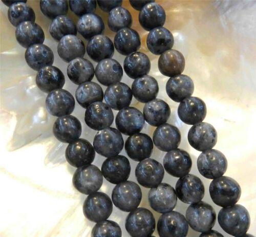 """Natural 8mm India Black Gray Labradorite Gems Round Loose Beads 15/"""" Strand JL81"""