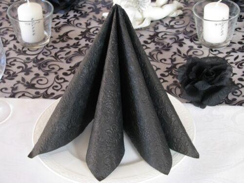 0,26 €//Stk geprägt schwarz Tischdeko Trauerfeier Trauer 15 Servietten