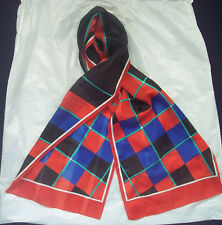 "Light Weight Long Scarf Geometric Red Black Blue Green White 10"" x 52"" Textured"