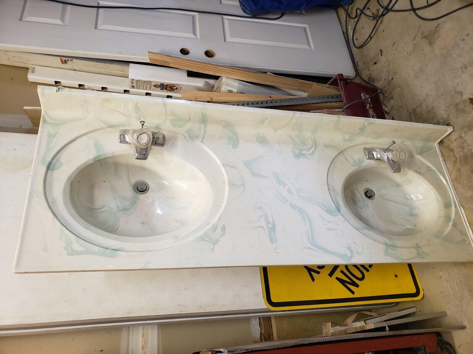 Signature Hardware 61 X 22 Teak Double Vessel Sink Vanity Top For Sale Online Ebay