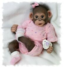 So SWEET! Baby Zoe Poseable Baby Girl Chimpanzee Monkey Collectors Doll Pacifier