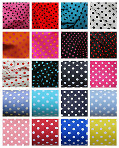 100-Cotton-Poplin-Dress-Fabric-Material-7mm-Spot-Polka-Dot-44-112cm