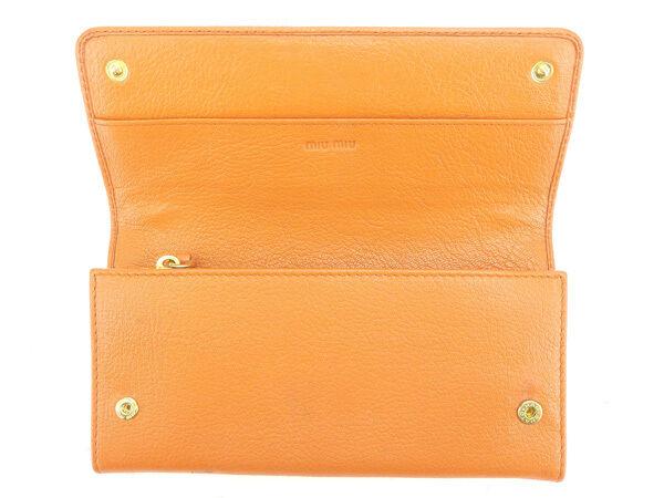 miumiu Wallet Purse Long Wallet Orange Gold Woman Authentic Used N346
