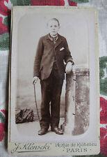Photographie ancienne 1895 portrait garçon costume Photographe Klenscki Paris