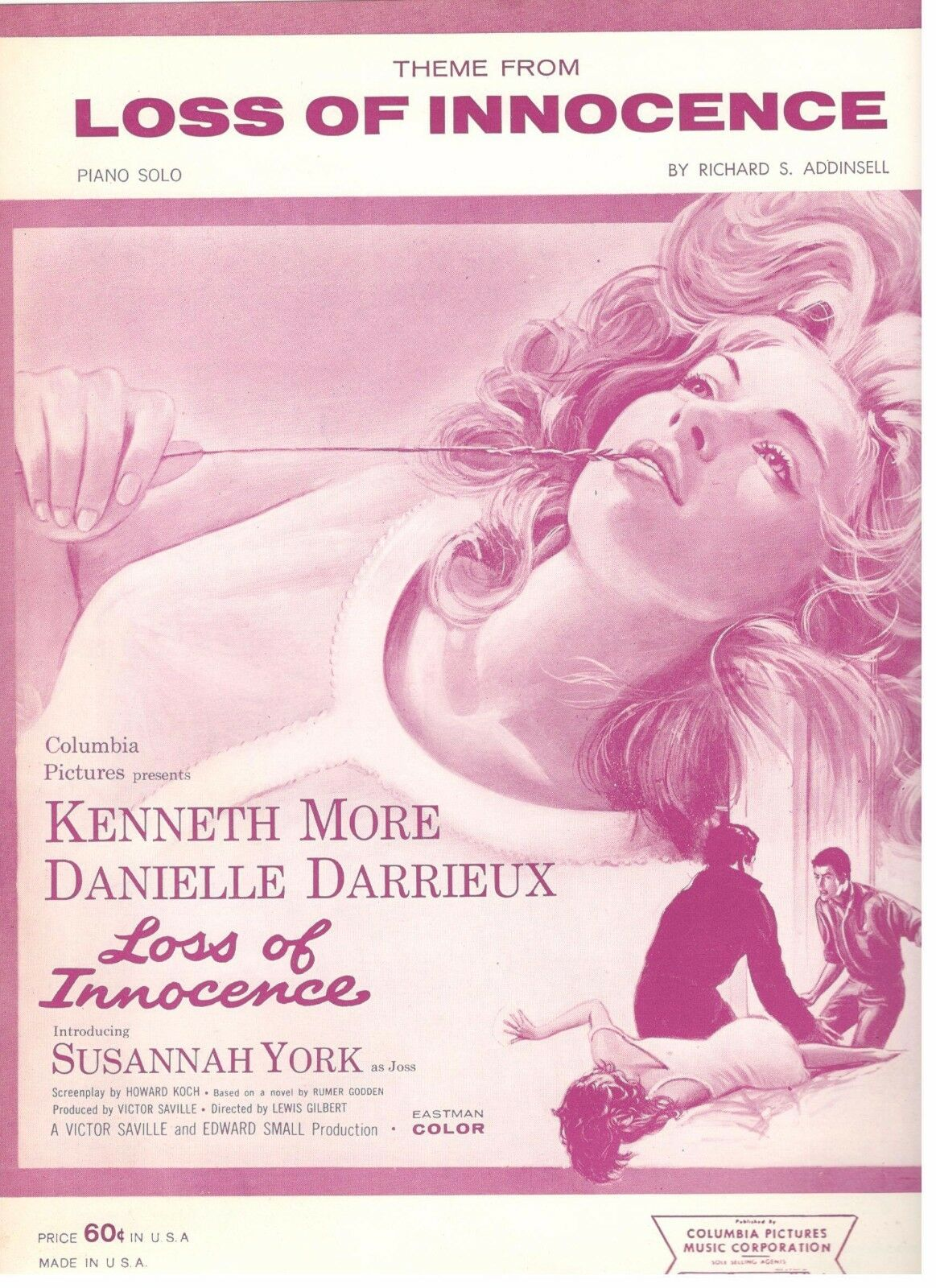 THEME FROM-LOSS OF INNOCENCE-PIANO SOLO SHEET MUSIC-MORE/YORK/DARRIEUX-RARE-NEW