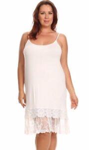 Layered-Crochet-Lace-Trim-Long-Camisole-Slip-Top-Dress-Extender-Off-White-Plus