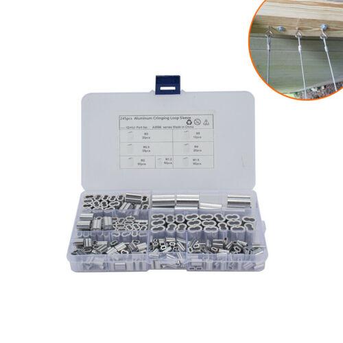 245Pcs Wire Rope Cable Thimbles Aluminum Crimping Loop Sleeve Assortment Kits