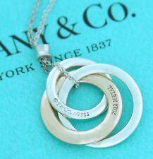 Tiffany & Co Rubedo & Silver 1837 Interlocking Circle Pendant Necklace. RRP $580