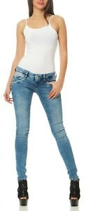Damen D9668 Hose HerrlicherPiper Jeans Powerstretch 724 Blau Slim Röhre BodCexWr