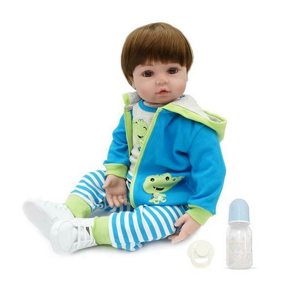 """New 24"""" Beautiful Simulation Silicone Baby Girl Reborn Baby Doll in Frog Dress"""