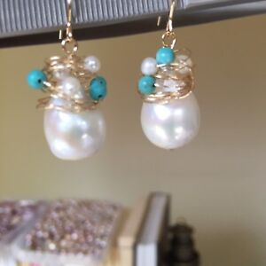 Natural-White-freshwater-pearl-14K-Gold-Filled-earring-Original-works-AAA