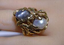14K Gold Nugget Large Ring Genuine 2 Pearls Looks like people Large Ring Estate
