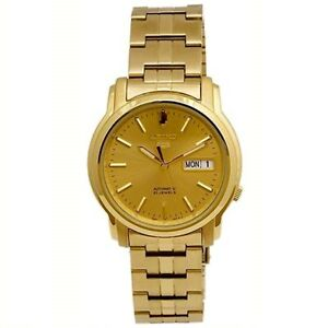 Seiko-5-SNKK76-K1-All-Gold-Dial-Stainless-Steel-Men-039-s-Automatic-Analog-Watch
